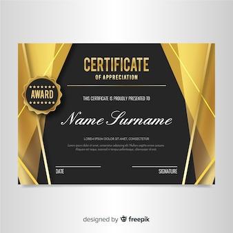 Modèle de certificat élégant avec un design doré