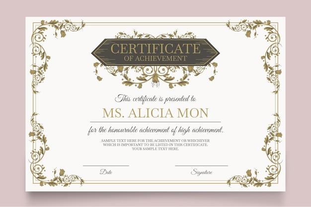 Modèle de certificat élégant avec différents ornements
