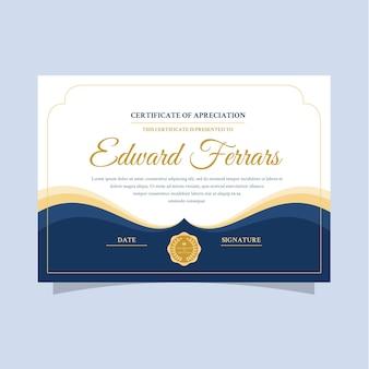 Modèle de certificat élégant avec des lettres dorées