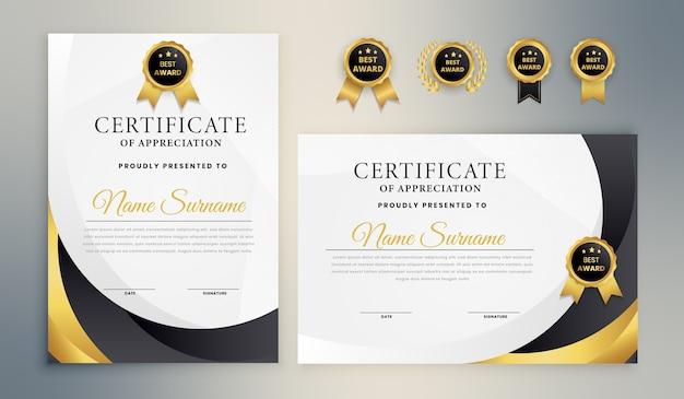 Modèle de certificat élégant en or noir