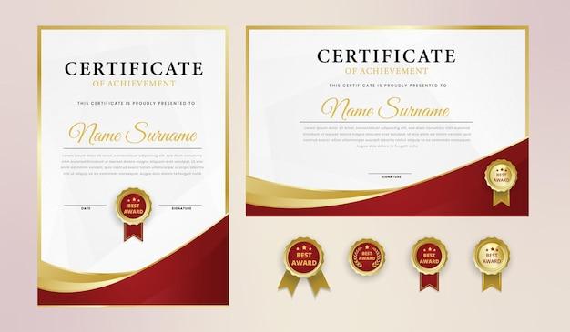 Modèle de certificat élégant en or rouge