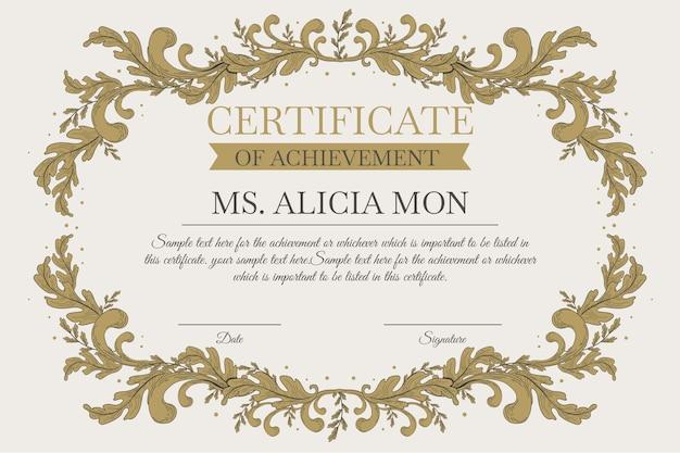 Modèle de certificat élégant avec des ornements dorés