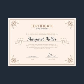 Modèle de certificat élégant avec des ornements mignons