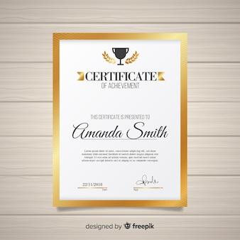 Modèle de certificat élégant avec style doré