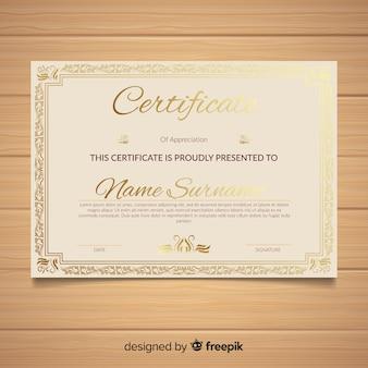 Modèle de certificat avec des éléments dorés