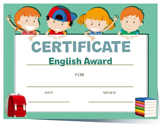 Modèle de certificat avec des enfants heureux