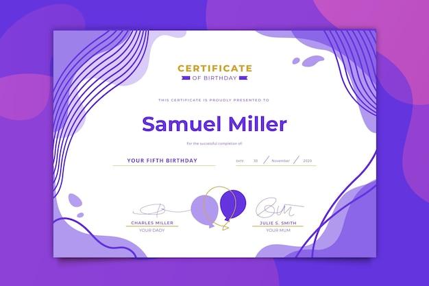 Modèle de certificat de fête d'anniversaire
