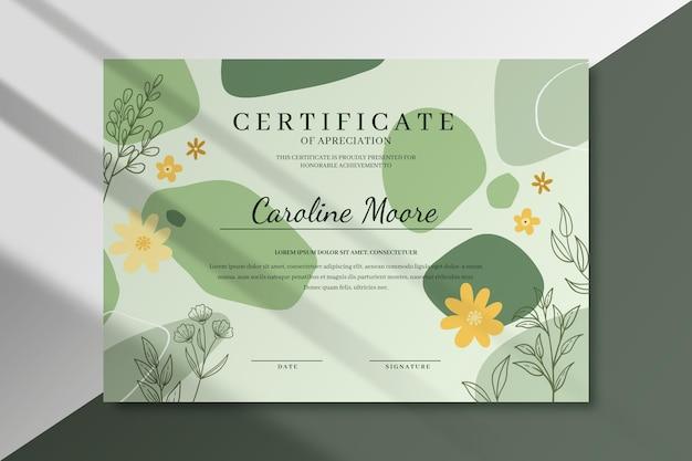Modèle de certificat floral avec des feuilles