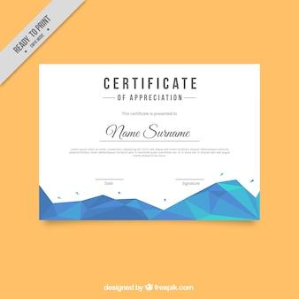 Modèle de certificat avec des formes géométriques dans des tons bleus