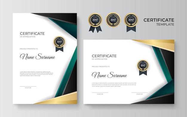 Modèle de certificat avec des formes géométriques dynamiques et futuristes et un arrière-plan moderne. insignes d'or et éléments abstraits verts
