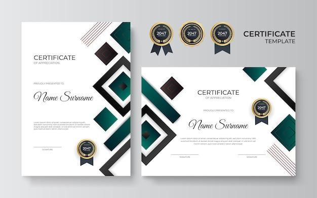 Modèle de certificat avec des formes géométriques dynamiques et futuristes et un arrière-plan moderne