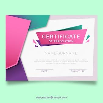 Modèle de certificat avec des formes plates et colorées