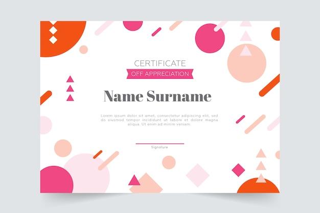 Modèle de certificat géométrique coloré