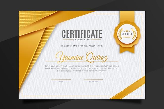 Modèle de certificat de luxe doré dégradé