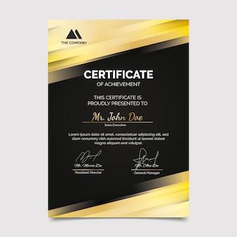 Modèle de certificat de luxe doré réaliste