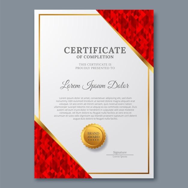 Modèle de certificat avec luxe et moderne