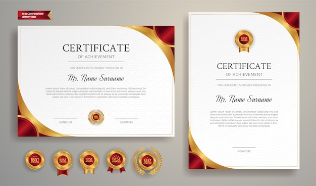 Modèle de certificat de luxe or et rouge pour les récompenses et le document juridique