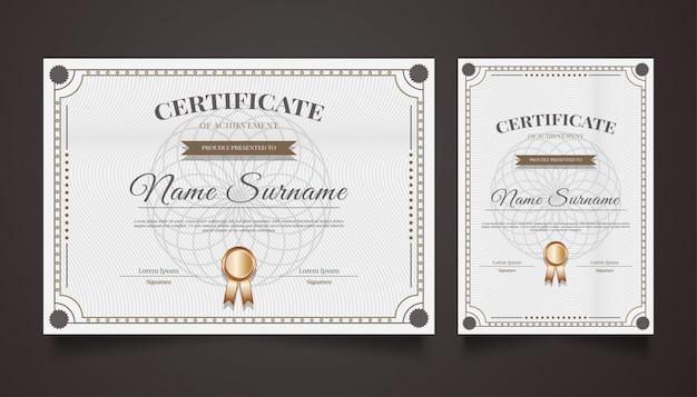 Modèle de certificat de luxe avec ornements vintage