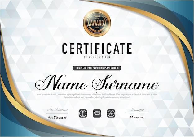 Modèle de certificat de luxe et de style de diplôme ,.