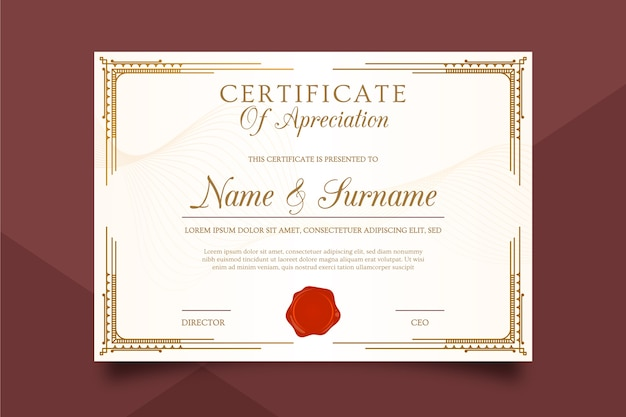 Modèle de certificat luxueux