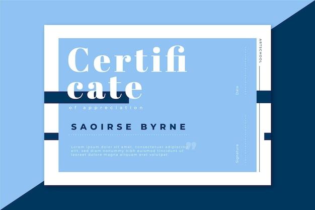 Modèle de certificat moderne dans les tons bleus