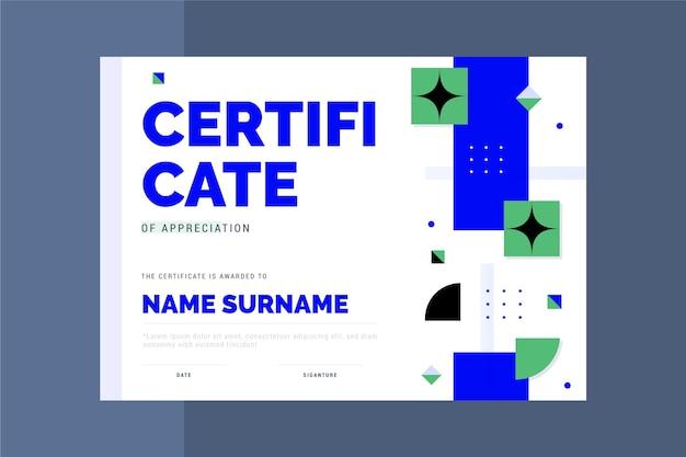 Modèle de certificat moderne design plat