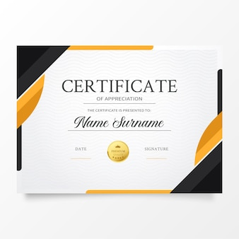 Modèle de certificat moderne avec des formes orange abstraites