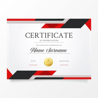 Modèle de certificat moderne avec des formes rouges abstraites