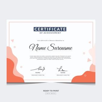 Modèle de certificat moderne. utiliser pour l'impression, le certificat, le diplôme, l'obtention du diplôme