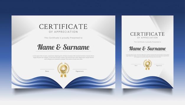 Modèle de certificat moderne avec vague blanche et bleue