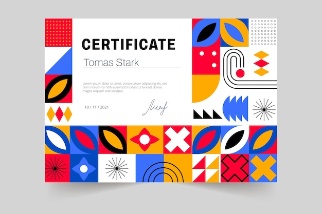 Modèle de certificat de mosaïque colorée plate