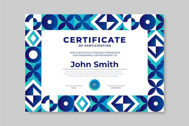Modèle de certificat de mosaïque de dégradé