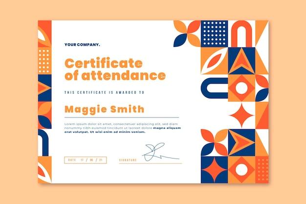 Modèle de certificat de mosaïque plate