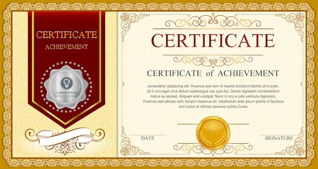 Modèle de certificat avec motif de luxe et moderne, diplôme,