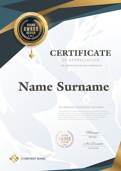Modèle de certificat avec motif de luxe