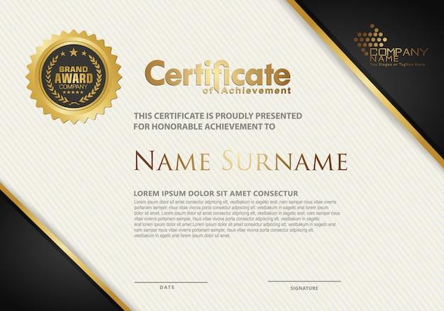 Modèle de certificat avec motif moderne de texture élégante et de luxe