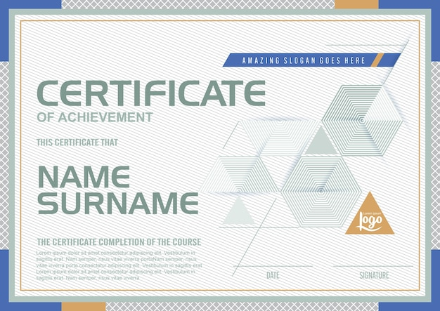Modèle de certificat avec un motif propre et moderne, luxe doré, modèle vierge de certificat de qualification avec élégant, illustration vectorielle