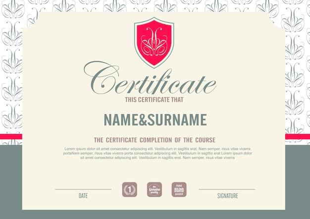 Modèle de certificat avec motif propre et moderne, modèle vierge de certificat de qualification avec illustration élégante