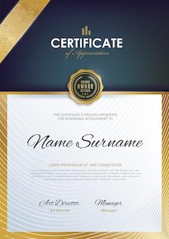 Modèle de certificat avec un motif propre et moderne,