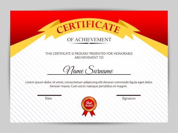 Modèle de certificat avec un motif propre et moderne.