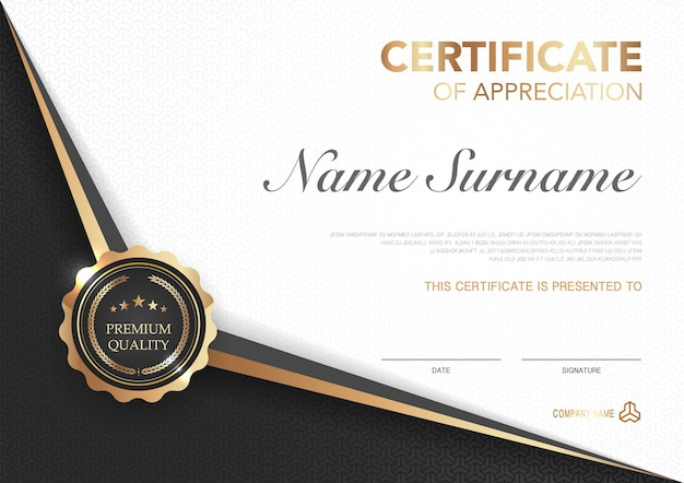 Modèle de certificat noir et or avec image de style de luxe diplôme de design moderne géométrique