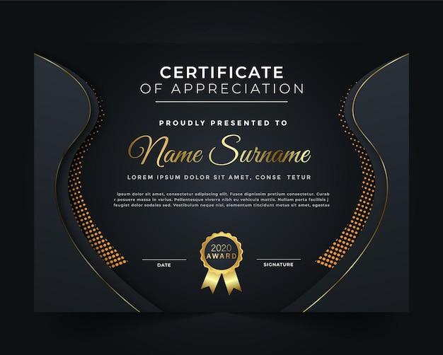 Modèle de certificat noir et unique