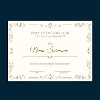 Modèle de certificat d'or élégant