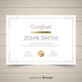 Modèle de certificat d'ornement vintage élégant