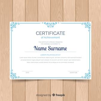 Modèle de certificat d'ornement vintage