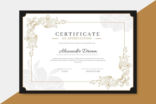 Modèle de certificat ornemental dessiné à la main de gravure