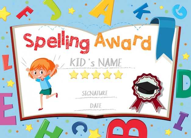 Modèle de certificat d'orthographe avec alphabets