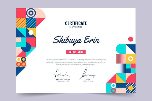 Modèle de certificat plat coloré