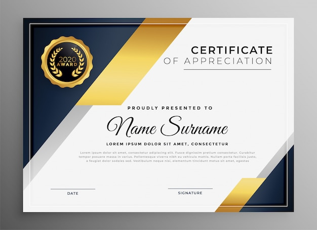 Modèle de certificat polyvalent doré premium géométrique