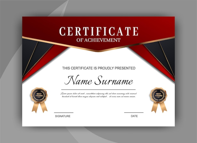 Modèle de certificat polyvalent géométrique premium doré